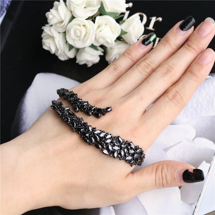 Takı ve Aksesuarları'ten Bilezikler'de ZOZIRI yeni moda 925 ayar gümüş geometri tipi matkap bilezik bileklik kakma zirkon siyah kadınlar takı için bilezikler'da  Grup 1