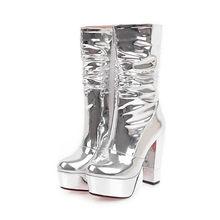 015a71f09 Zorssar 2019 النساء منتصف العجل أحذية الشتاء الدافئة الأحذية منصة الفراء  قصيرة أفخم ملهى ليلي الفضة اللون عالية الأحذية حجم 34-4.