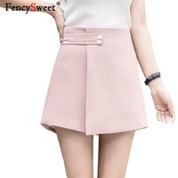 Fencysweet High Waist Skirts Shorts Women Summer Wide Leg Shorts Irregular Solid Slim Woman Culottes Plus Size Black Pink Skort