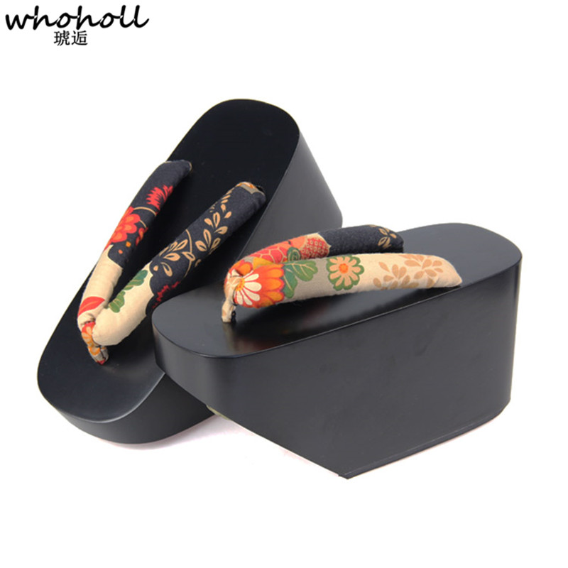 WHOHOLL Geta Female Flip flop Japanese Style Geisha Clogs Cosplay Costumes 10cm Thick Platform Wooden Clogs Kimono Slippers in Shoes from Novelty Special Use