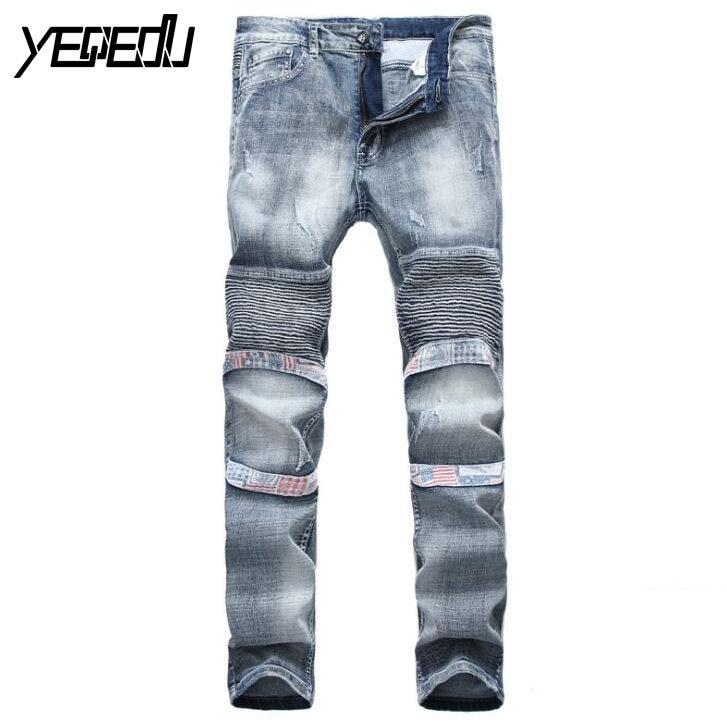 #3408 2017 Denim Pleated Stretch jeans men Fashion Skinny Moto jeans Denim biker jeans Slim Straight Distressed Hip hop jeans 2017 men jeans biker pleated mens denim ripped jeans hip hop straight stretch zipper distressed moto slim fit pleated punk pants