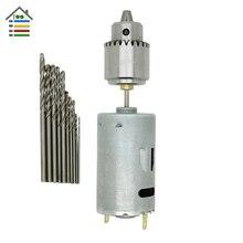 Motor eléctrico Smaill PCB Taladro de columna de Perforación Conjunto Compacto + 10 UNID 0.8-2.5mm Twist Bits con 0.3-4mm Mandriles JTO DC 12 V herramienta multi
