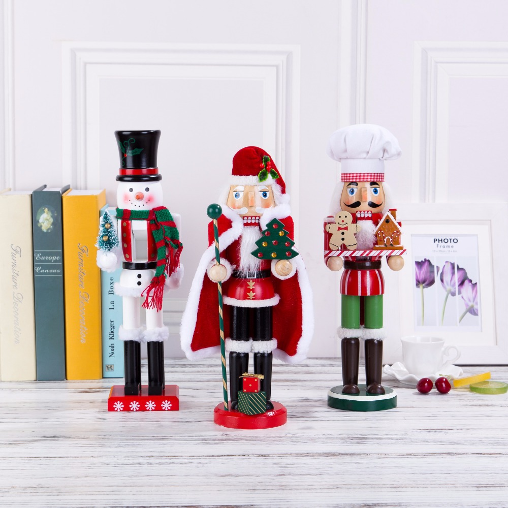German christmas decorations wooden - 38cm 2017 New Europe Original Wood Hand Made The Nutcrackers Santa Claus And Christmas Snowman Home