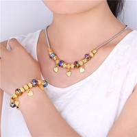 Kpop Choker Necklace Bracelet Set For Women Gold Color Chain Trendy New Crystal Glass Beads Heart Jewelry Set NH128