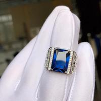 exquisite royal blue sapphire gemstone ring for men ring natural gem good cut 925 sterling silver birthday gift big size 10x14mm