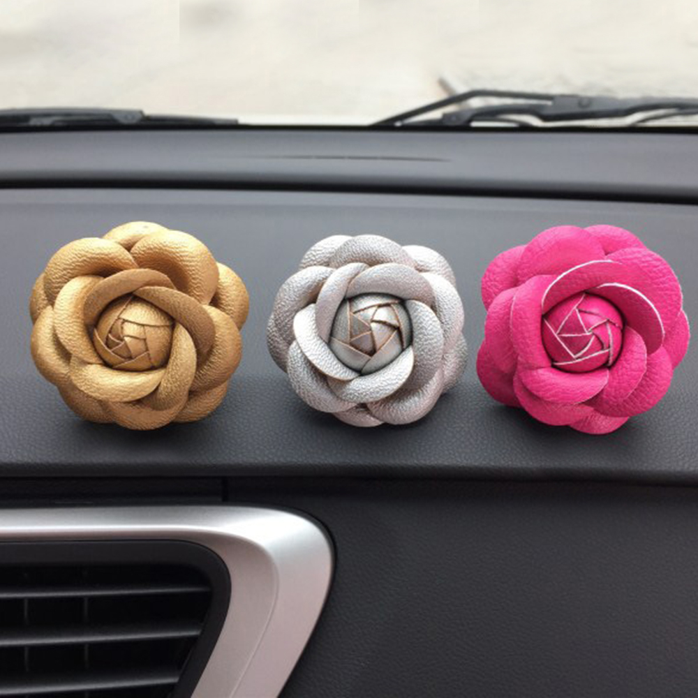 Car Use Perfume Seat Car Ornaments with Crystal Creative Charm Beautiful Camellia Flower Car Accessories 8 colors