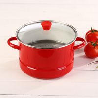 24CM5.5L thick red enamel pot stew pot steamer cooker pot to stainless steel sheet