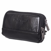 Men Real Genuine Leather Fanny Waist Pack Double Zipper Purse Credit Card Holder Mobile Cell Phone