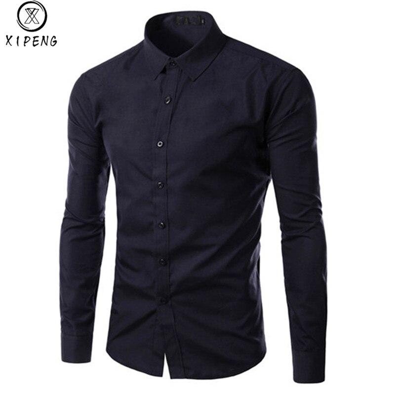 New 2020 Fashion Brand Spring Male Shirt Long Sleeve Tops Slim Casual Solid Color Mens Dress Shirts Slim Business Men Shirt XXXL