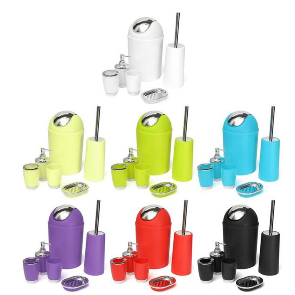 6Pcs/set Bathroom Accessory Bin Soap Dish Dispenser Tumbler Toothbrush Holder Set Wash Bath Set Storage Accessories