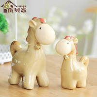 Ceramic Horse Jewelry Interior Decoration Creative Craft Gift Home Children's Bedroom Office Placement Teacher's Day Gift 2 Pcs