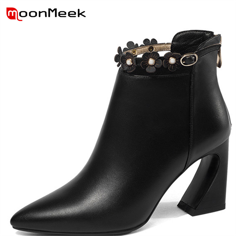 MoonMeek 2018 NEW fashion zipper ankle boots elegant women genuine leather boots sexy pointed toe autumn winter ladies bootsMoonMeek 2018 NEW fashion zipper ankle boots elegant women genuine leather boots sexy pointed toe autumn winter ladies boots