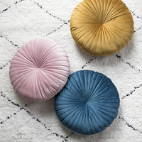 solid velvet pink blue yellow moroccan French chic design Nordic pumpkin back sofa bed round Cushion Lumbar Throw Pillow cover