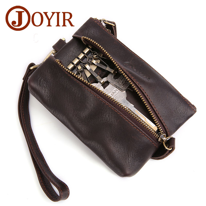 JOYIR Vintage Genuine Leather Key Holder Men Keychain Covers Zipper Key Case Bag Men Key Wallet Small Coin Purse Wallet For Men in Key Wallets from Luggage Bags