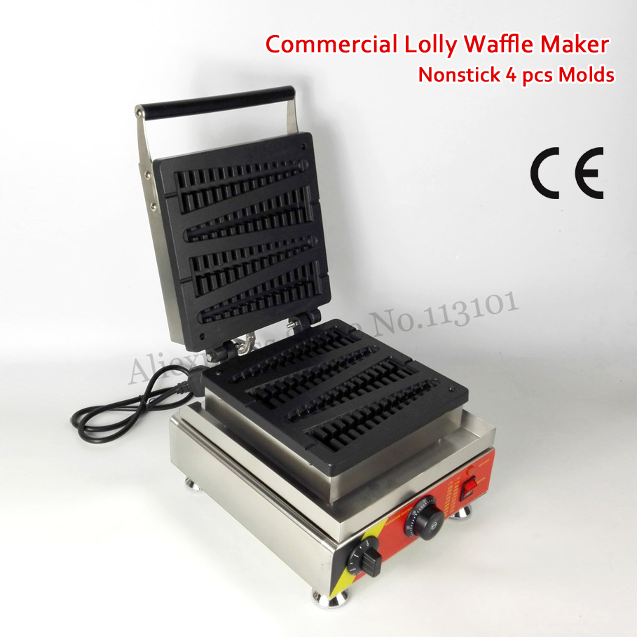 Electric Lolly Waffle Maker 4 Molds Tower-shape Long Waffle Machine 1500W Commercial and Household Use 220V 110V 1pcs 1500w 110v 220v electric lolly waffle maker with stick lolly waffle maker lolly waffle machine