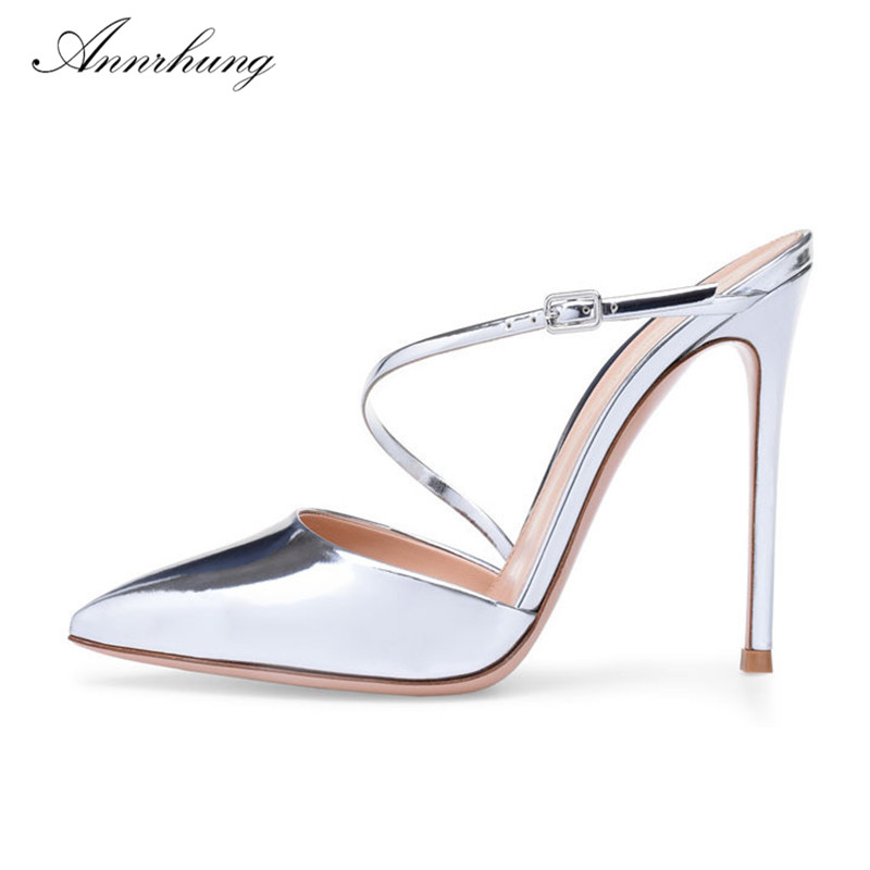 New Summer Gold Silver Patent Leather Sandals Women Pointed Toe 10cm 8cm Thin Heels Sexy Catwalk High Heel Sandalias For WomenNew Summer Gold Silver Patent Leather Sandals Women Pointed Toe 10cm 8cm Thin Heels Sexy Catwalk High Heel Sandalias For Women