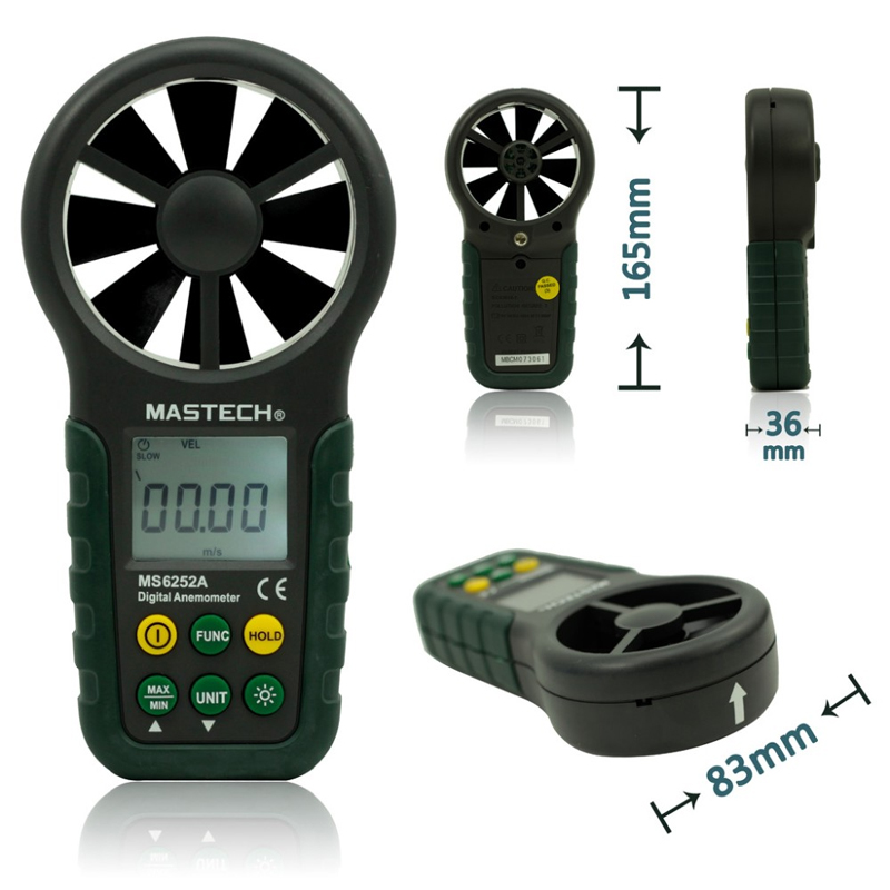 ФОТО 1pcs MASTECH MS6252A Handheld Digital Anemometer Wind Speed Meter Air Flow Tester with Bar Graph