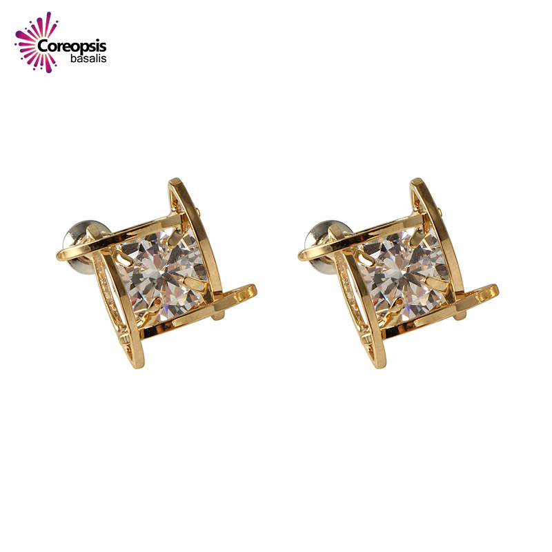 2017 New Fashion Women Stud Earrings Shiny Square Zircon Intersecting Parallels Sliver Color Gold Color Female Earrings Gifts