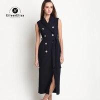 Elegaant Office Ladies Dresses Runway Sleeveless Dress Spring Summer Women Dress Vintage 2017 Luxury