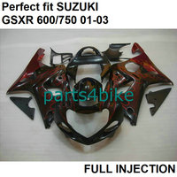 Injection molding plastic fairings for Suzuki GSXR 600 01 02 03 red flames black fairing kit GSXR750 2001 2003 LV108