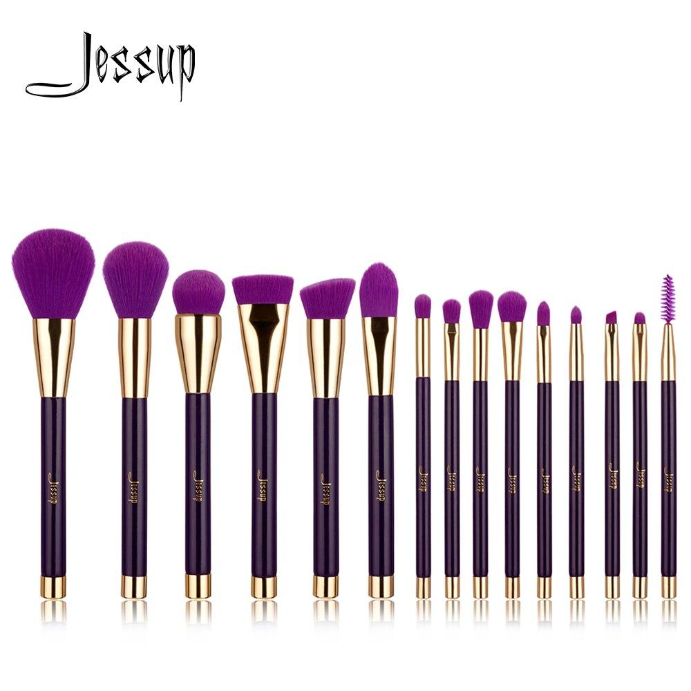 Jessup Brushes 15pcs Purple/Darkviolet Makeup Brushes Set Powder Foundation Eyeshadow Eyeliner Lip Contour Concealer Smudge fashion 10pcs professional makeup powder foundation blush eyeshadow brushes sponge puff 15 color cosmetic concealer palette