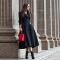 2016 Otoño Nueva Moda Femenina de Color Sólido Doble de Pecho Cazadora Outwear Más Tamaño Da Vuelta-abajo de la Mujer Delgada Zanja escudo
