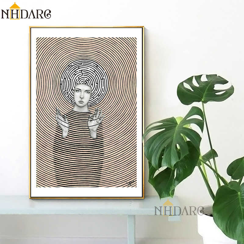 European Decorative Painting Abstract Graphical Brown Retro Style Girl Canvas Print Painting Poster Art Wall Picture Home Decor