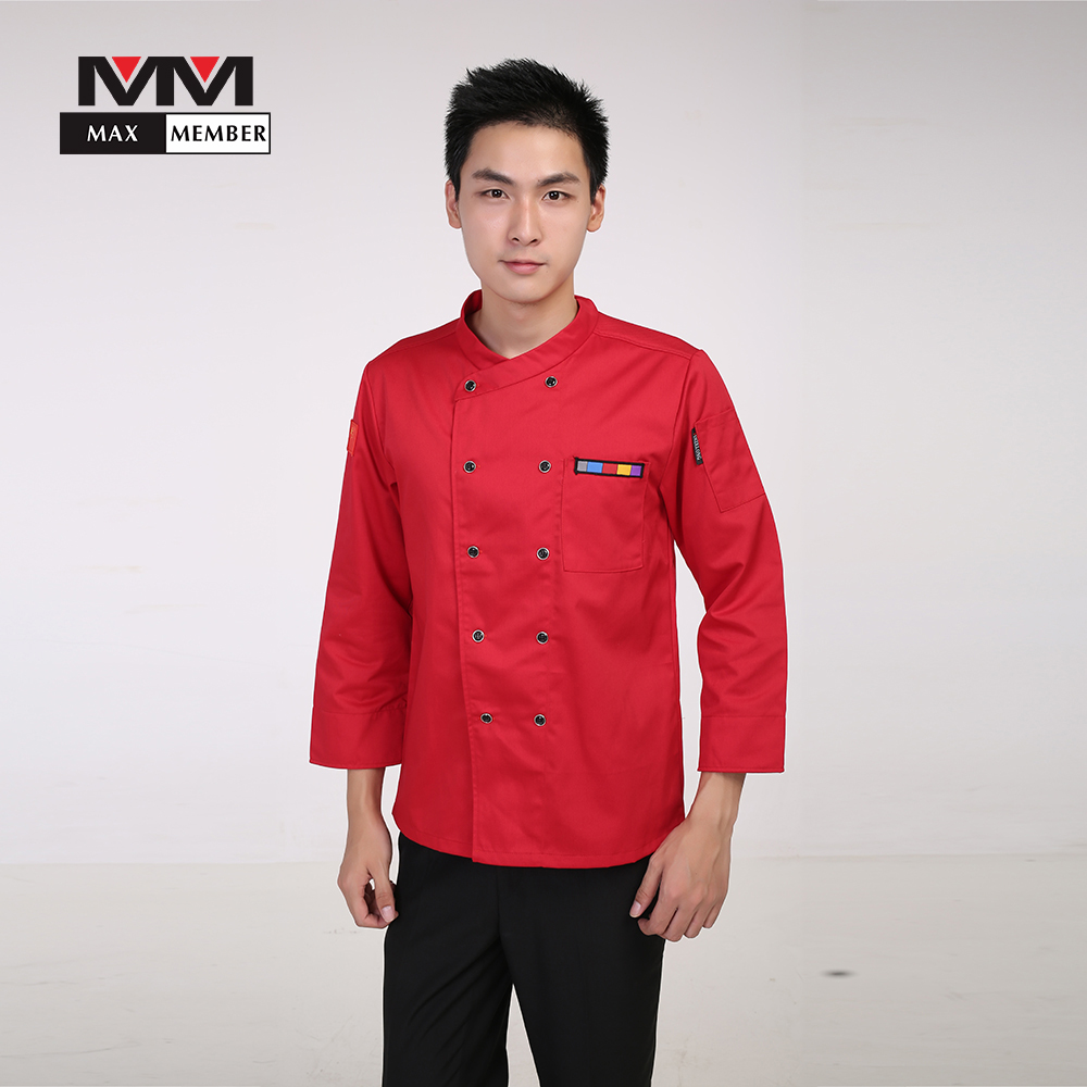 M-3XL Men Oblique Collar Chinese Restaurant Kitchen Chef Uniforms Long-sleeved Double Breasted Work Top Cook Suit Jacket