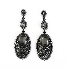 ORNAPEADIA Brand Jewelry 2018 fashion show Long earring luxury obsidian Hollow retro new style stud earrings for women