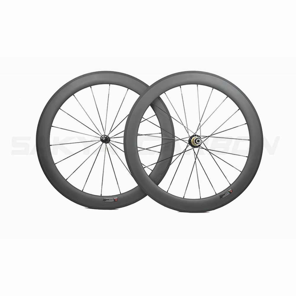 700C كامل ألياف الكربون دراجة عجلات 60 مللي متر عميق 25 مللي متر واسعة عجلات الكربون الفاصلة أنبوبي عجلات الكربون