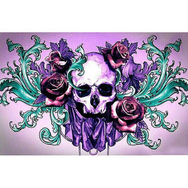 Full Square/Round Drill 5D DIY Diamond Painting Skull rose Embroidery Cross Stitch  Home Decor Gift