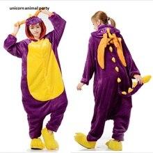 Halloween Costumes Animal Purple Dinosaur Onesies Adults Sleeping Wear Kigurumi Pajamas Cosplay Anime Cartoon Sleepwear