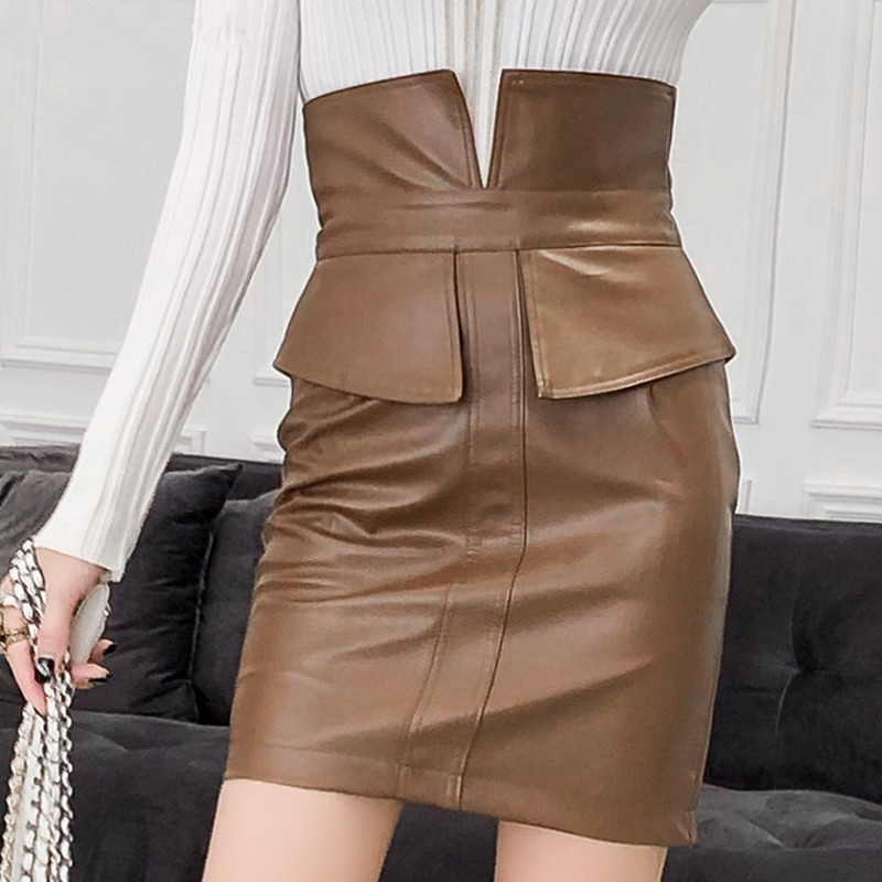 Ih Women High Waist PU Leather Skirt 2019 Spring New Fashion Pencil Patchwork Ladies Fashion Package Hip Slit Mini Black Skirt