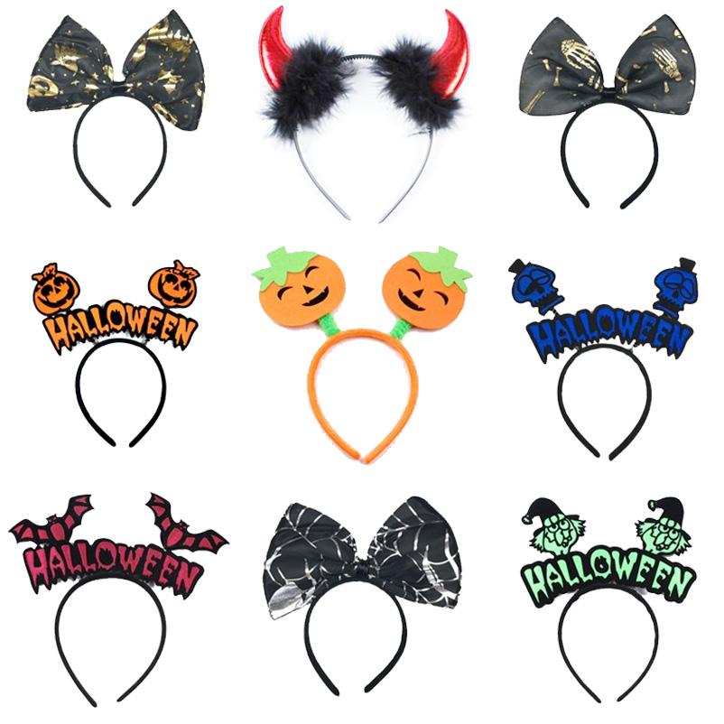 Halloween Carnival Headwear Big Spider Bow Tie Headband Party Dress Up Halloween Night Pumpkin Withch Vampiregaze Headband