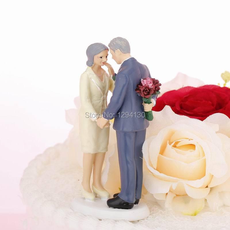 Free Shipping Golden Wedding Anniversary Cake Topper Wedding Cake