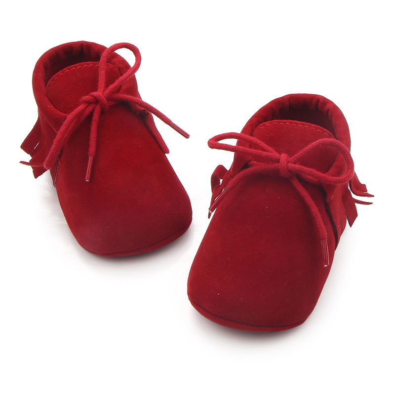 SKIPS Cotton Soft Sole Shoes Indoor Shoes for First Walker Baby Girls Boys Crib Shoes Non Slip Non Skid Bottom-Maroon