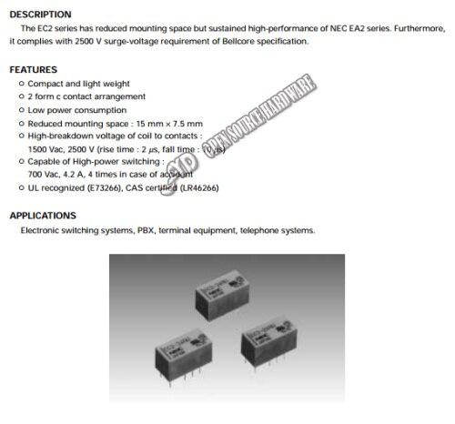 NEC EA2-12 EA2-12NU Low Signal Relay 1A 12VDC 10 Pins x 10pcs