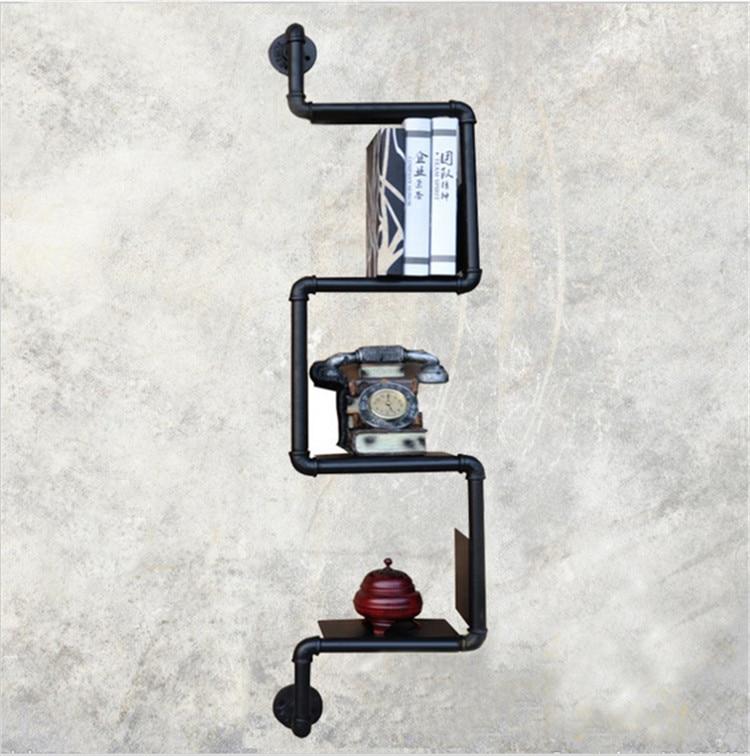 1 PCS AMERICAN INDUSTRIAL RETRO NOSTALGIA THICK WROUGHT IRON ART DISPLAY SHELF BOOKCASE SHELF PUT THINGS DECORATIVE FRAME-Z26-1 loft style furniture wall hanging iron pipe book shelf creative art display shelves bookcase decorative bookshelf