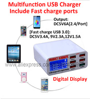 100 240V Multi 6 Ports Smart USB Power Charging Station Include Fast Charge Port 40W Extension