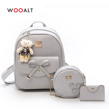 Wooalt 3 Pcs Women Mini Backpack for Girls Cute Bowknot PU Leather Multi-Function Small Fashion Shoulder Bag Mochila