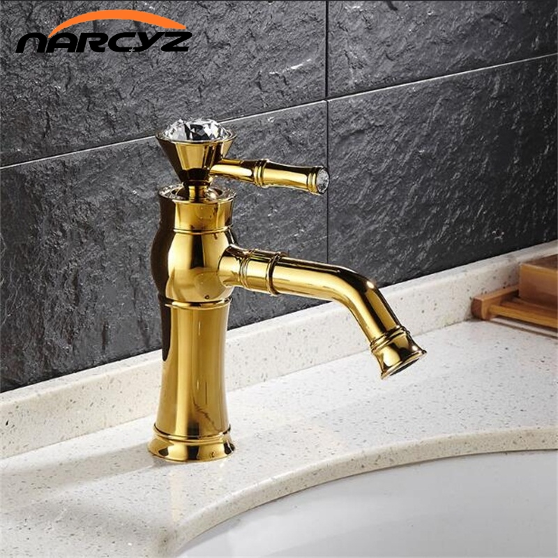 New Style Deck Mounted Single Handle Counter top Basin Faucet Gold Brass Hot and Cold Water Bathroom Mixer Taps XT833New Style Deck Mounted Single Handle Counter top Basin Faucet Gold Brass Hot and Cold Water Bathroom Mixer Taps XT833