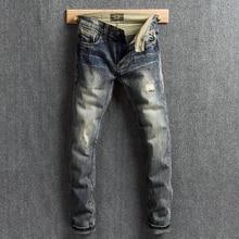 цена на Italy Fashion Men Jeans Vintage Design Slim Fit Ripped Jeans For Men Retro Washed Destroyed Denim Pants Streetwear Hip Hop Jeans