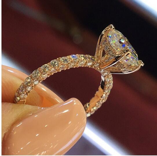 Silver Color Engagement Ring Zirconia Jewelry Rings Fashion jewelry rose gold and Gold women Crystal ring 5