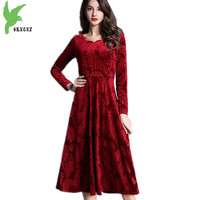 2018 Spring Women's Flannel Dresses Boutique Fashion Long sleeve Large size Velvet Big swing Dress Slim Pleated Dress OKXGNZ1615