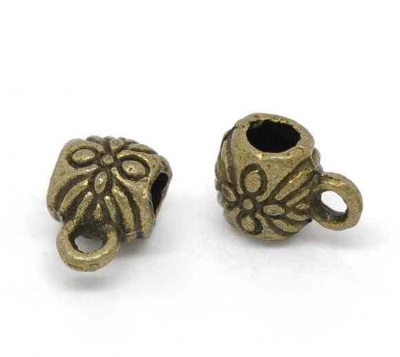 FUNIQUE 100PCs DIY Fashion Bronze Tone Flower Pattern Bail Beads Jewelry Basic Finding & Components For Jewelry Making 9x6mm