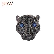 Copper Inlay Black/Clear CZ Rhinestone Animal Leopard Lion Head Charm Beads Spacer DIY Men Bracelet Jewelry Findings 10pcs