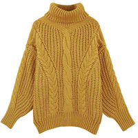 Casual Woman Turtleneck Pullover Mohair Sweater Women Knit Sweater Yellow Long Sleeve Woman Dress Sweaters European Style B202