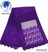 BEAUTIFICAL guipure lace fabric purple guipure lace dress african guipure cord lace fabric 2018 flower style 5yards/piece PG167 guipure lace sleeve panel top