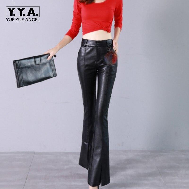 New Fashion Pu Pants Loose Fit High Waist Korean Style Summer Womens Flare Trousers Female Broeken Woman Wide Leg Sarouel Femme