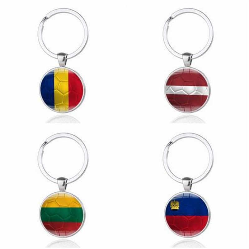 1 x Car Chaveiro Chaveiro Futebol Copo Estilo Anéis Chave Para A Espanha Itália Rússia EUA Coréia Do Sul Japão Brasil Colômbia bandeira